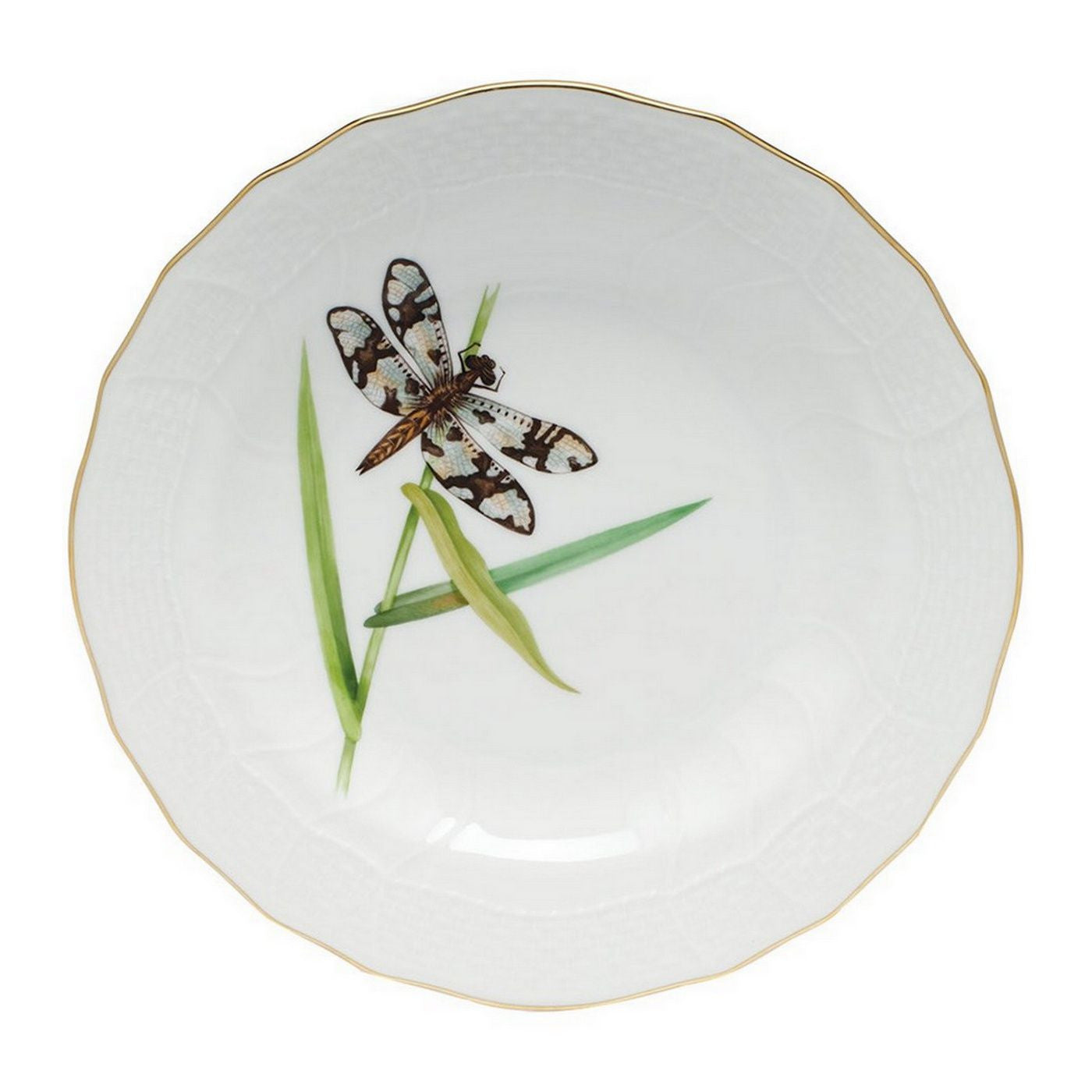 Brown Dragonfly Dessert Plate