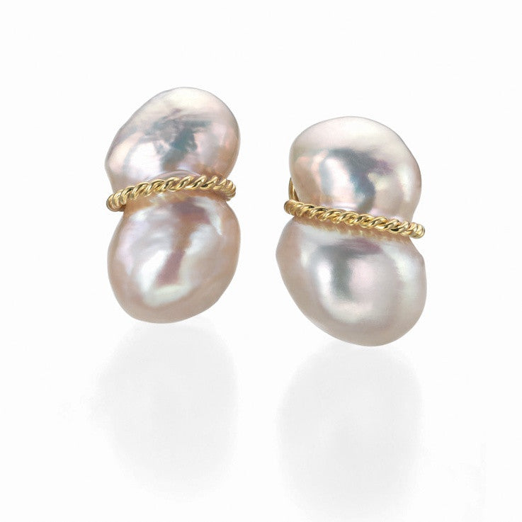 Fresh Water Peanut Pearl and Gold Earrings