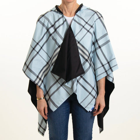Hooded Black & Light Blue Plaid Rainrap
