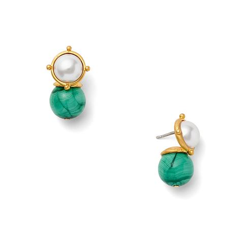 Malachite and White Earrings