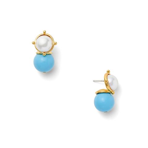 Turquoise and White Earrings