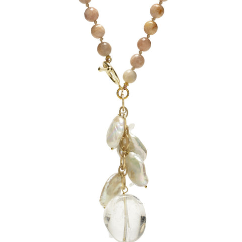 Ellinor Clasp Necklace Pink/Moonstone