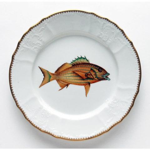 Fish Dinner Plate, Gold With Blue Stripes