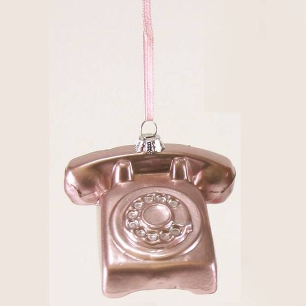 Pink Rotary Phone Ornament