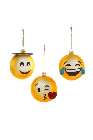 Emoji 3 assorted ornaments