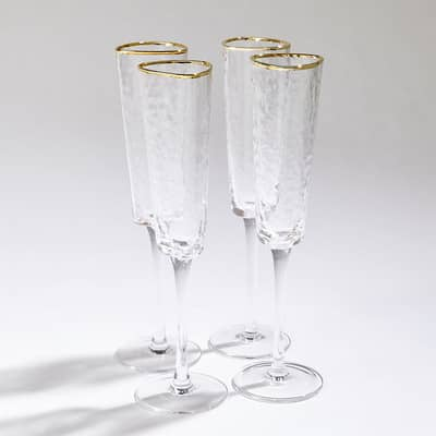 Set of 4 Hammered Champagne Glass With Gold Rim