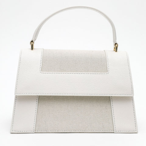 Graphic Frame Bag with White Goat embossed Leather Trim
