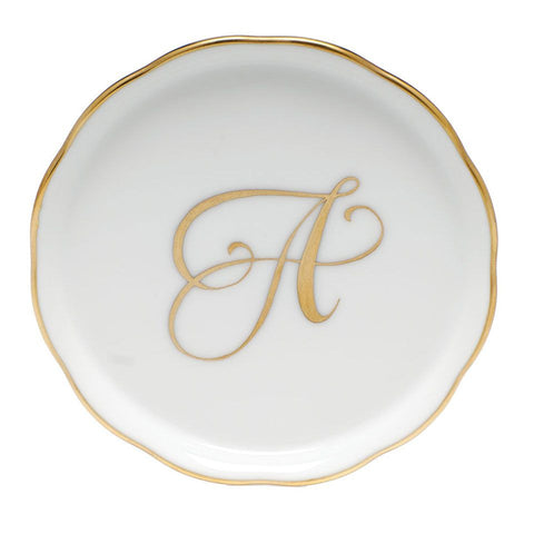 Herend Monogrammed Golden Edge Coaster