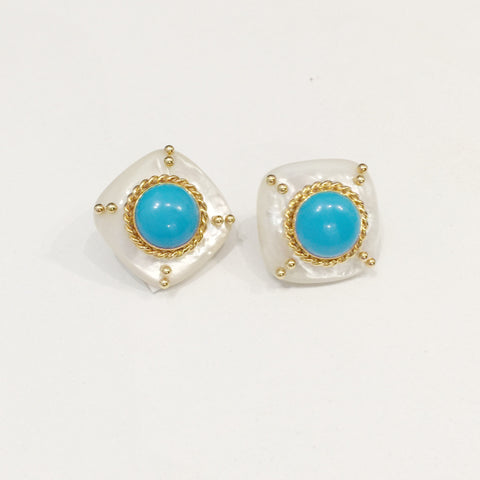 Turquoise and Mother of Pearl Earring