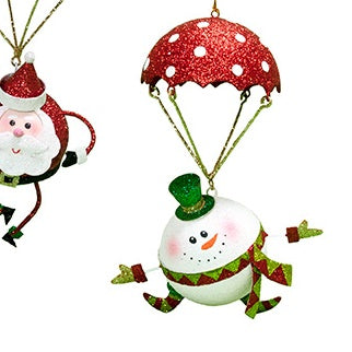 "6.5"" Snowman Dangling from Parachute Ornament"