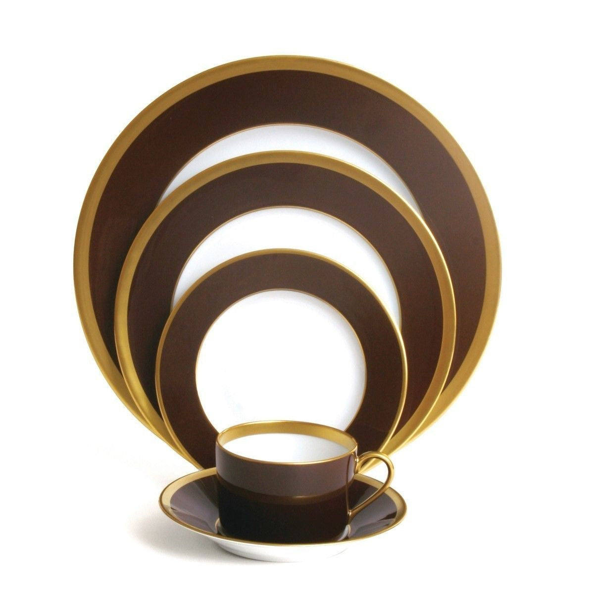 L. De Chine Chocolate Gold Dessert Plate