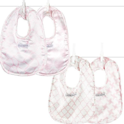 4 pack Square Bib Set, Pink