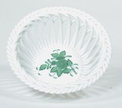 Chinese Bouquet Openwork Basket- Green