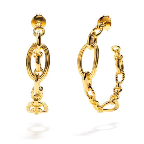 Monique Chain Hoop Earrings Gold