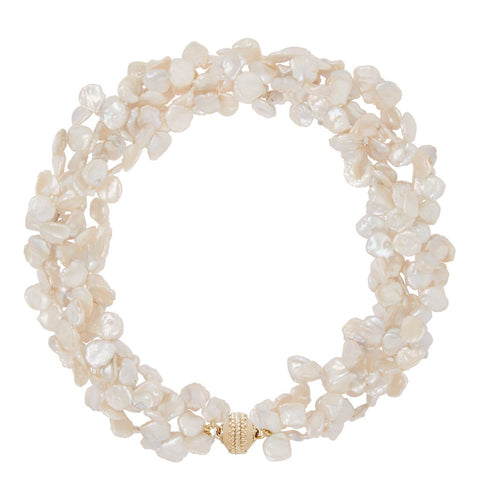 White Keshi Pearl Multi Strand Necklace