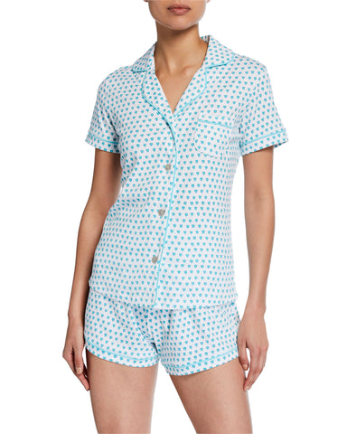PJ Polo Set with Shorts Jersey Hearts-Mint