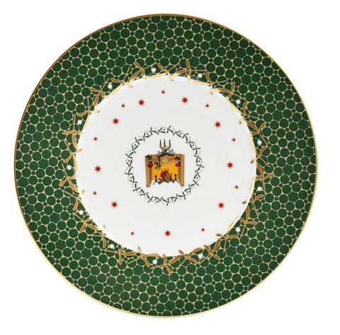 Noel Salad Plate-Green Fireplace