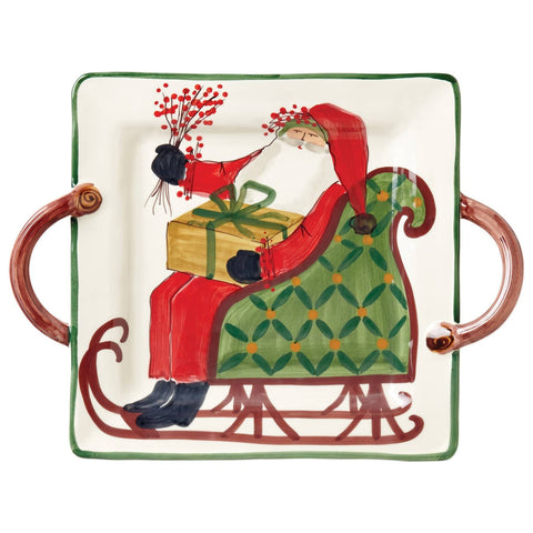Old St. Nick Handled Square Platter