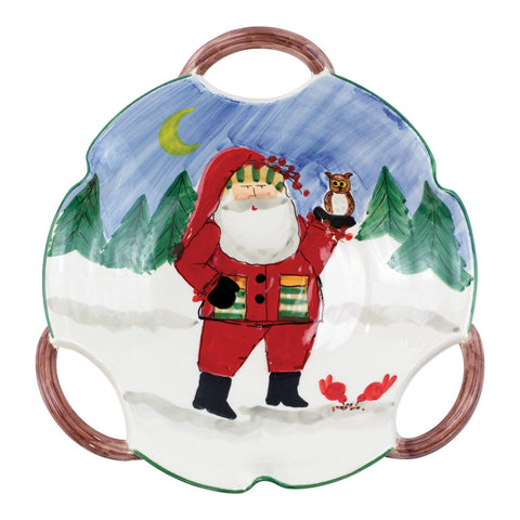 Old St. Nick Handled Scallop Bowl - Santa with Owl