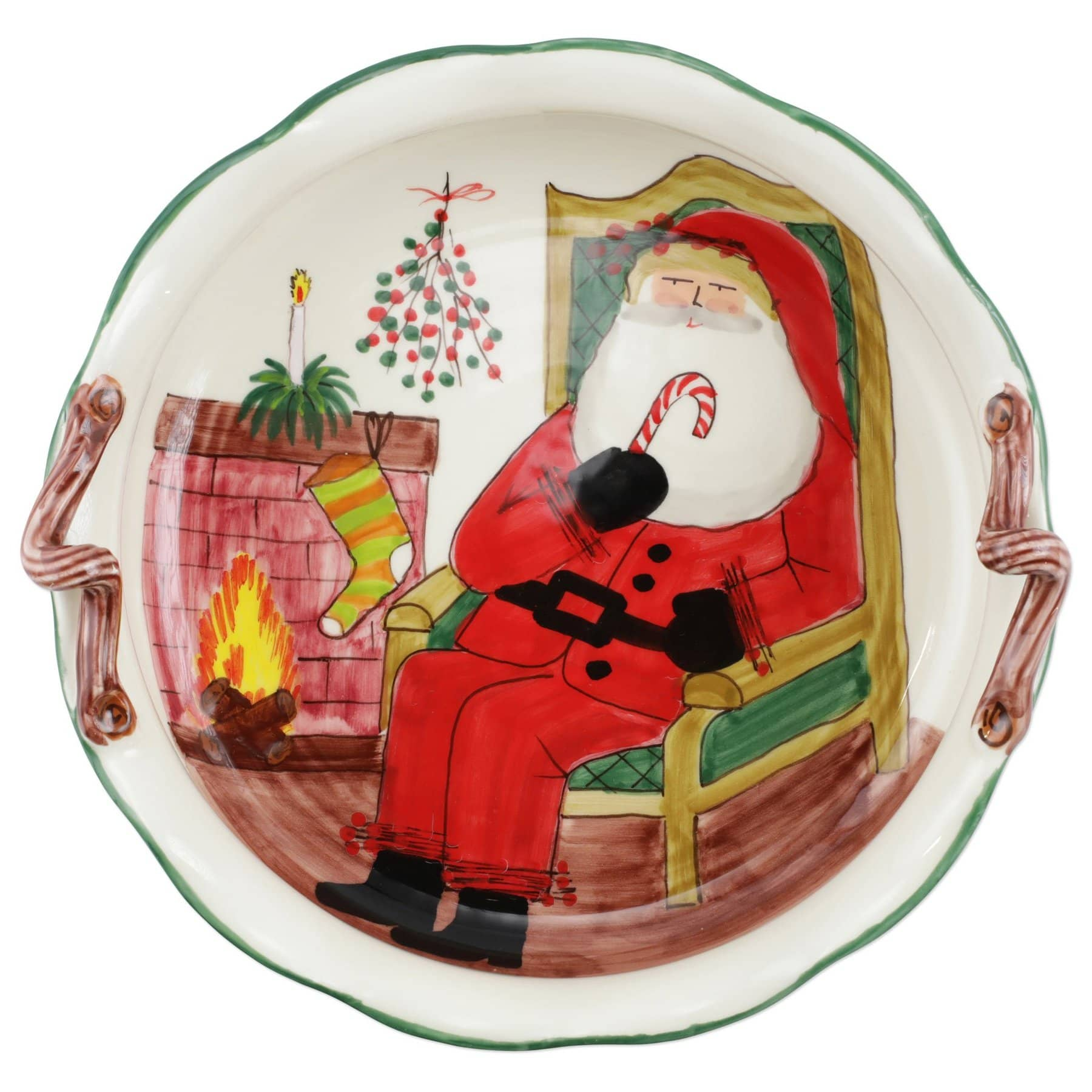 Old St. Nick Handled Scallop Large Bowl with Fireplace