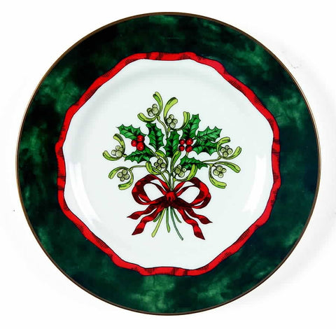 Holly Ribbons Green Bread & Butter Plate