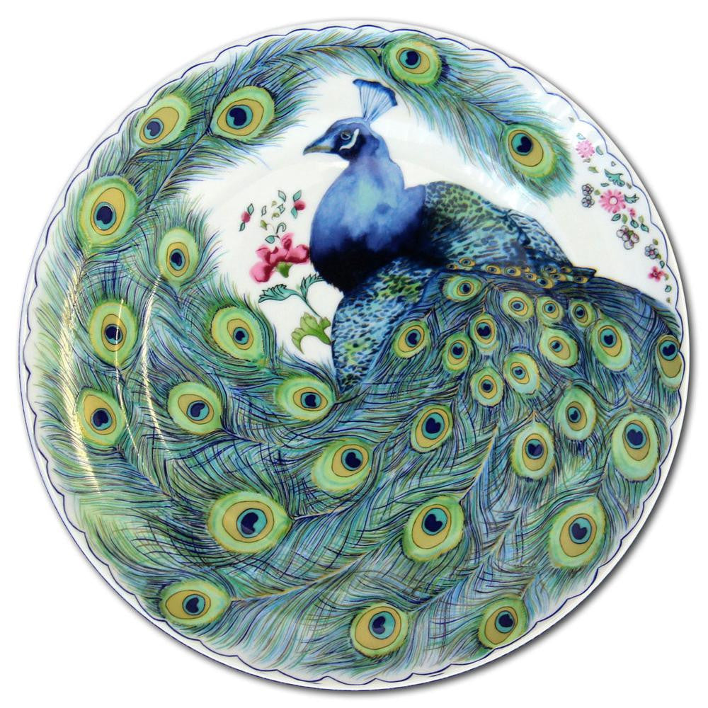Peacock Feather Dessert Plate