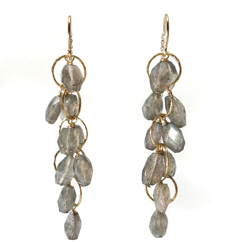 Labradorite Cluster Threader Earrings