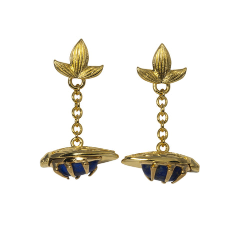 Lapis Bug Fob Earrings