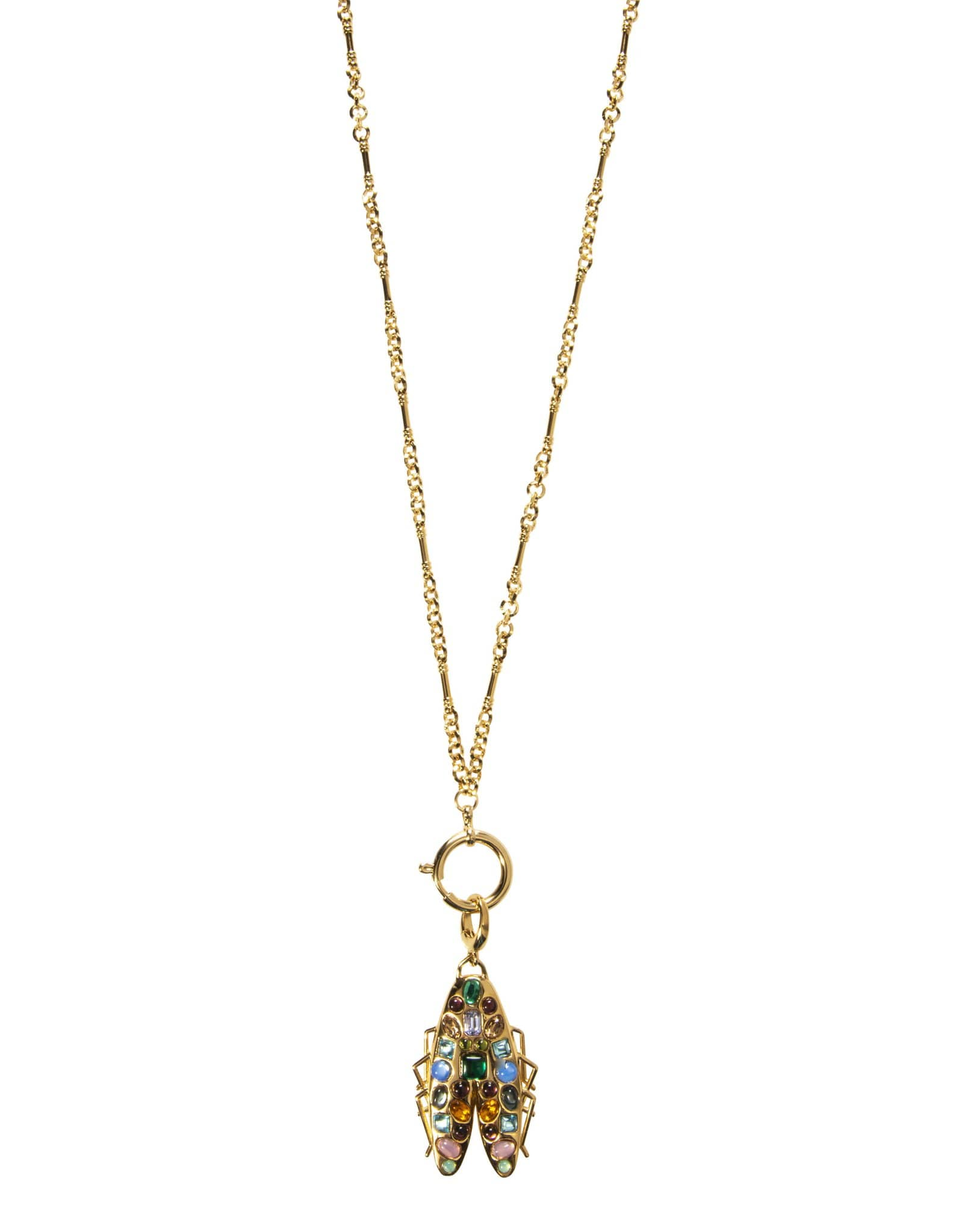Gemstone Bug Necklace-30 Inch