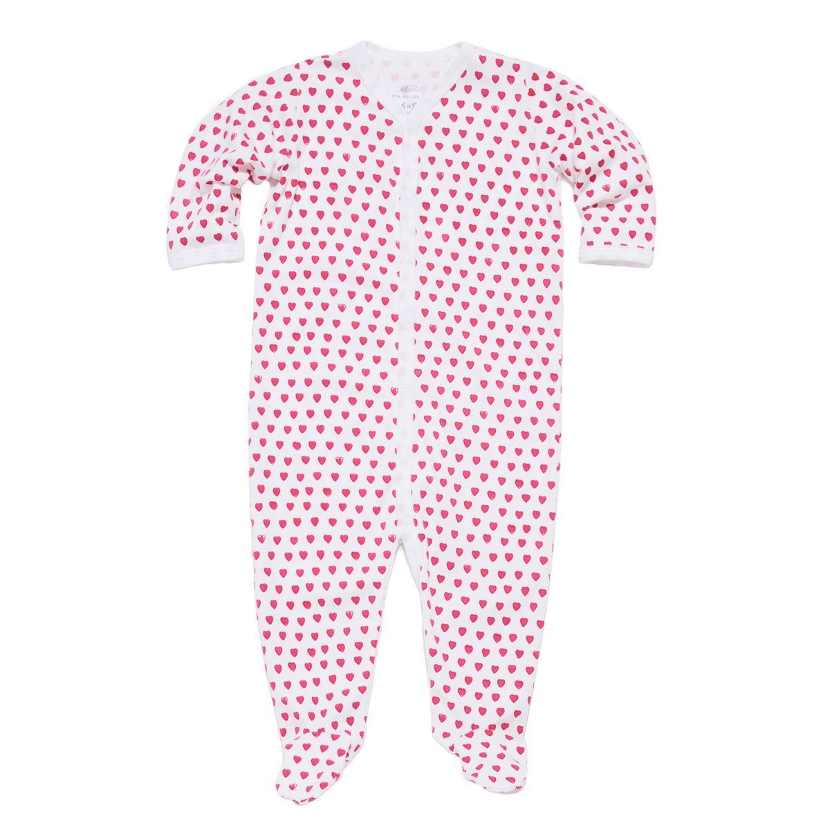 Infants Snap Pajama Suit Hearts Pink
