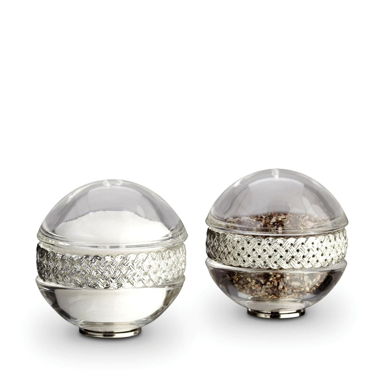 Braid Salt and Pepper Shakers-Platinum