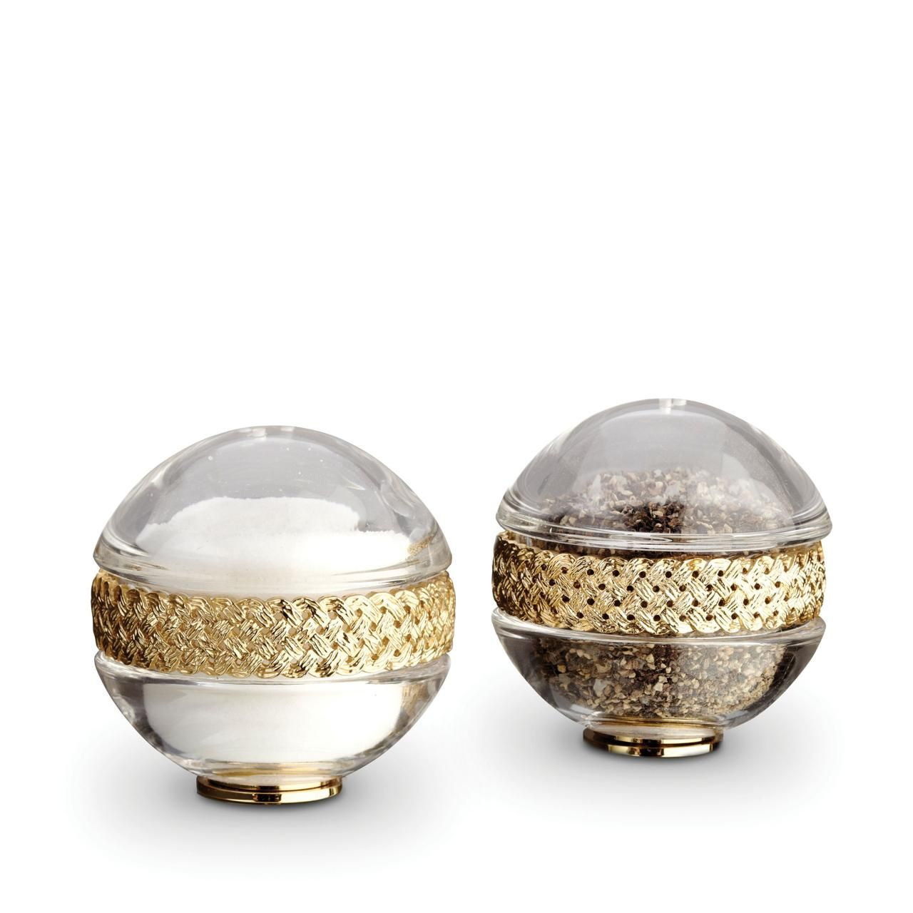 Braid Salt and Pepper Shakers-Gold