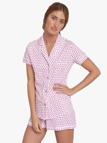 PJ Polo Set with Shorts Jersey Hearts Pink