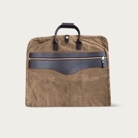 Garment Bag-Tobacco with Smoke Leather