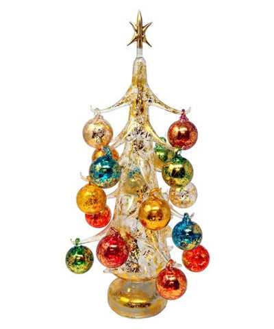 Gold multicolor illuminated Large Glass Tree