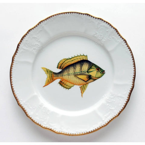 Fish Dinner Plate, Gold With Aqua Highlights