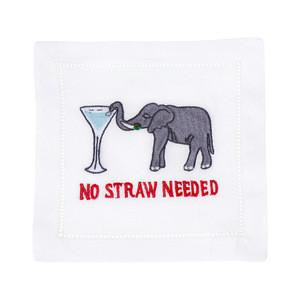 No Straw Needed, Set of 4 Cocktail Napkins
