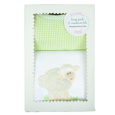White Lamb Bib & Burp Box Set