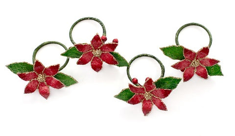 Capiz Flakes Poinsettia Flower Napkin Ring-Set of 6
