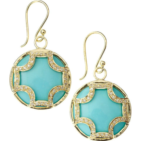 Yellow Gold Turquoise and Diamond Earrings