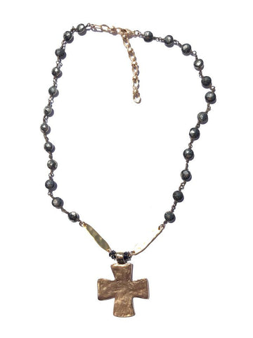 Pyrite and Pewter Block Cross Necklace