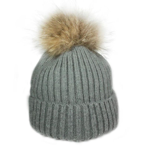 Mohair/Wool Pom Hat-Charcoal