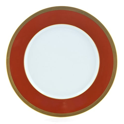 L. De Chine Gold and Brick Dinner Plate