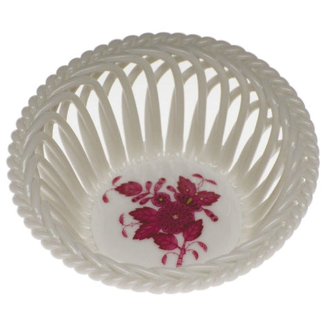 Chinese Bouquet Openwork Basket- Raspberry
