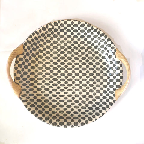 "13"" Round Tray - Dot Charcoal"