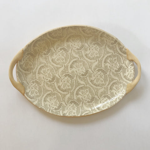 Fleur de Lis Mocha Small Oval Tray with Handles