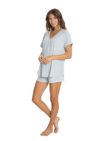Luxe Milk Jersey Piped Top & Boxer Set- Blue Water