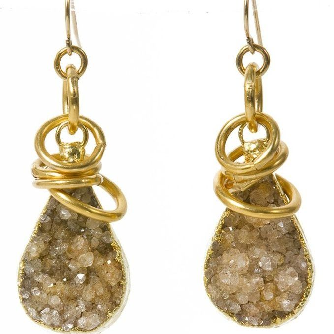 Druzy wrapped in Gold Earrings