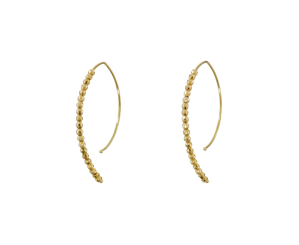 Gold Bead Open Marquise Hoops