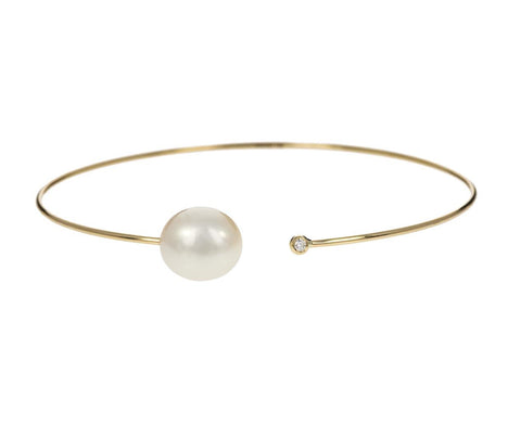 White Pearl and Diamond Thin Cuff